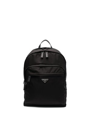 Prada logo-plaque detail backpack - Black