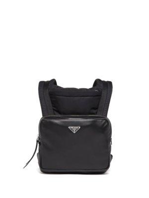 Prada logo-plaque leather backpack - Black