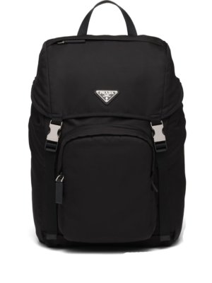 Prada logo-plaque multi-pocket backpack - Black