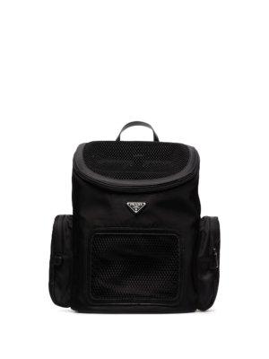 Prada logo-plaque pet backpack - Black