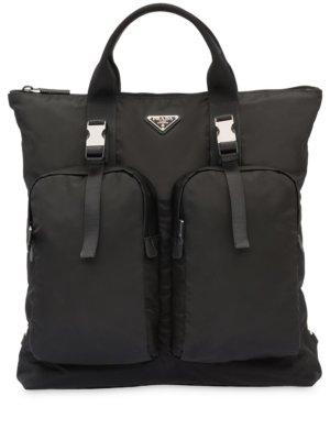 Prada logo plaque tote backpack - Black