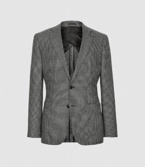 Reiss Atherton - Dogtooth Slim Fit Blazer in Brown, Mens, Size 36