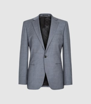 Reiss Atten - Wool Single Breasted Blazer in Airforce Blue, Mens, Size 36