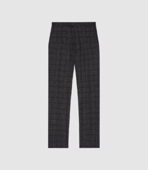 Reiss Balsa - Checked Tailored Trousers in Charcoal, Mens, Size 28