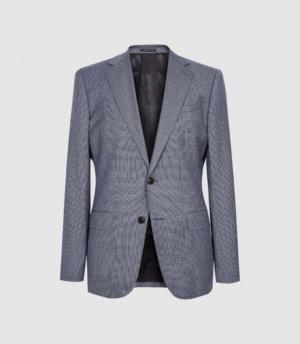 Reiss Ben - Puppytooth Check Slim Fit Blazer in Airforce Blue, Mens, Size 36