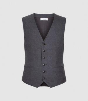 Reiss Bounce - Wool Slim Fit Waistcoat in Grey, Mens, Size 36