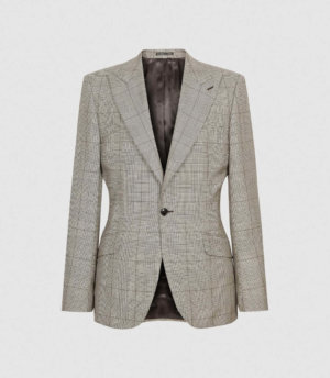 Reiss Buster - Wool Checked Slim Fit Blazer in Grey, Mens, Size 36