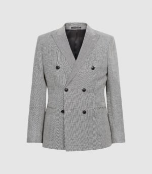 Reiss Cab - Puppytooth Double Breasted Blazer in Grey, Mens, Size 36