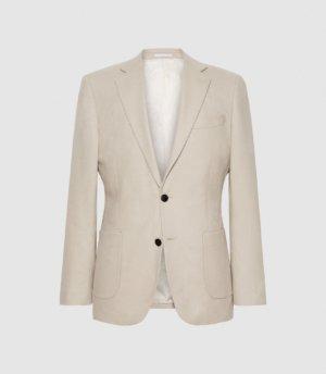 Reiss Cane - Wool Slim Fit Blazer in Oatmeal, Mens, Size 36