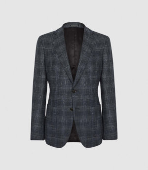 Reiss Chay - Checked Slim Fit Blazer in Navy, Mens, Size 36