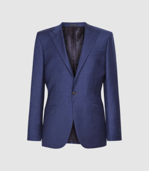 Reiss Christopher - Wool Slim Fit Blazer in Electric Blue, Mens, Size 36