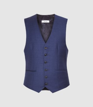 Reiss Christopher - Wool Slim Fit Waistcoat in Electric Blue, Mens, Size 36