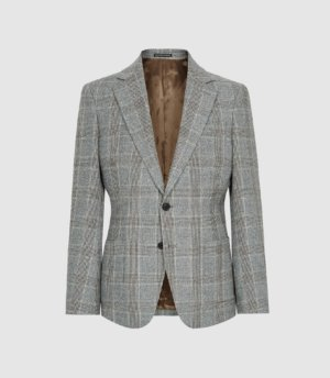 Reiss Cob - Slim Fit Check Blazer in Grey, Mens, Size 36