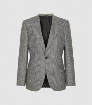 Reiss Denzil - Puppytooth Check Slim Fit Blazer in Grey, Mens, Size 36