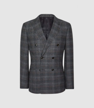 Reiss Dream - Double Breasted Check Blazer in Navy, Mens, Size 36