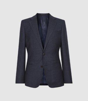 Reiss Dunn - Textured Slim Fit Blazer in Navy, Mens, Size 36