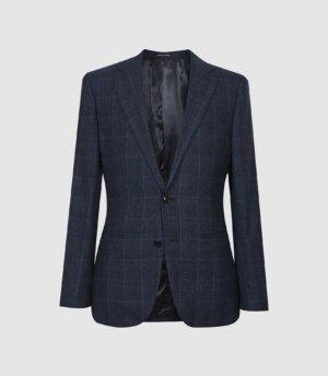 Reiss Eltham - Slim Fit Checked Blazer in Indigo, Mens, Size 36