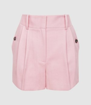 Reiss Ember - Tailored Pleat Front Shorts in Pink, Womens, Size 4