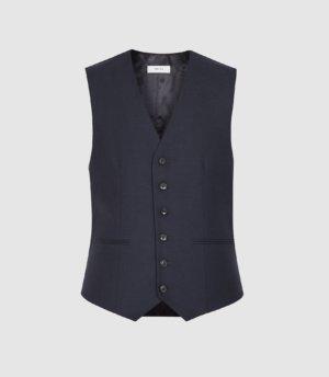 Reiss Enzo - Wool Slim Fit Waistcoat in Navy, Mens, Size 36