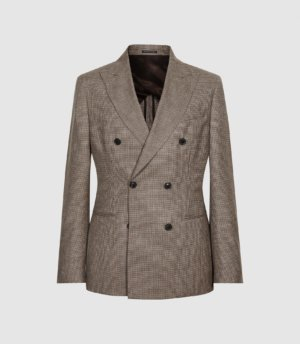 Reiss Escapade - Wool Double Breasted Blazer in Brown, Mens, Size 36