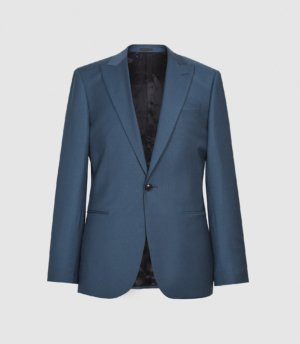 Reiss Extra - Wool Slim Fit Blazer in Airforce Blue, Mens, Size 36