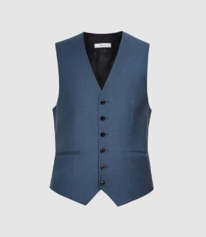 Reiss Extra - Wool Slim Fit Waistcoat in Airforce Blue, Mens, Size 36