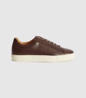 Reiss Finley - Leather Contrast Sole Trainers in Pomegranate, Mens, Size 7