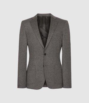 Reiss Flexo - Slim Fit Jersey-stretch Blazer in Grey, Mens, Size 36