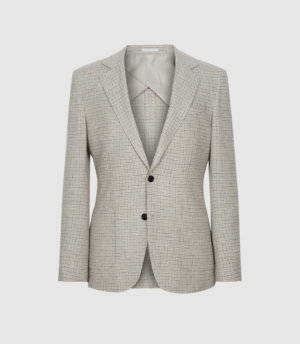 Reiss Flutter - Wool Checked Slim Fit Blazer in Oatmeal, Mens, Size 36