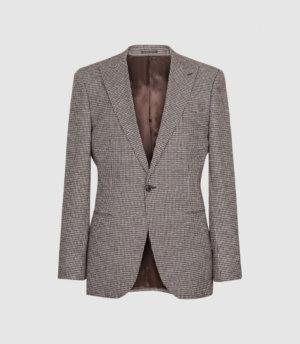Reiss Fome - Cotton Linen Checked Blazer in Brown, Mens, Size 36