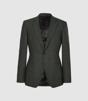 Reiss Foster - Single Breasted Wool Blazer in Green, Mens, Size 34