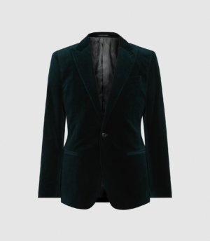 Reiss Froze-sb 1b Peak Velvet J - Velvet Blazer in Green, Mens, Size 36