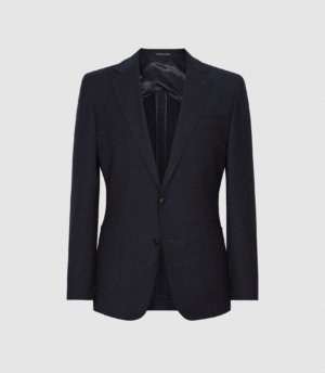 Reiss Gig - Brushed Flannel Slim Fit Blazer in Navy, Mens, Size 36