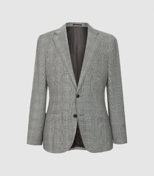 Reiss Hall - Checked Slim Fit Blazer in Grey, Mens, Size 36