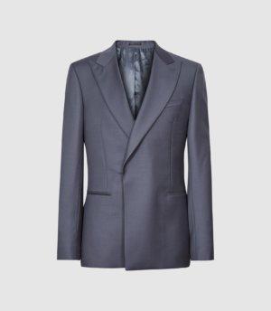 Reiss Hidden - Wool Slim Fit Blazer in Airforce Blue, Mens, Size 36
