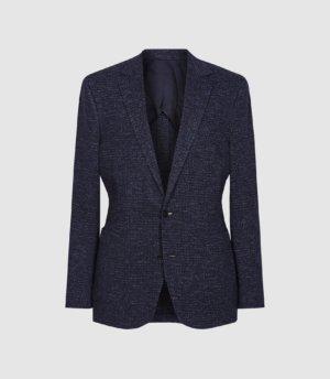 Reiss Hollow - Wool Cotton Blend Slim Fit Blazer in Navy Check, Mens, Size 36
