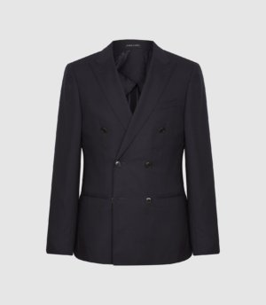 Reiss Hop - Double Breasted Hopsack Blazer in Navy, Mens, Size 36