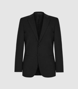Reiss Hope - Modern Fit Travel Blazer in Black, Mens, Size 34S