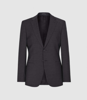Reiss Hope - Modern Fit Travel Blazer in Charcoal, Mens, Size 34S