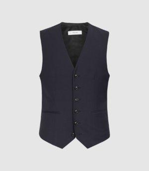 Reiss Hope - Modern Fit Travel Waistcoat in Navy, Mens, Size 36