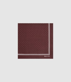 Reiss Jupiter - Silk Pocket Square in Bordeaux, Mens