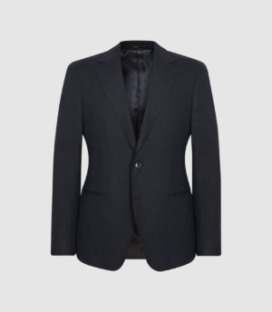 Reiss Kin - Linen Slim Fit Blazer in Navy, Mens, Size 36