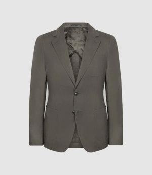 Reiss Labora - Cotton Linen Blend Slim Fit Blazer in Khaki, Mens, Size 36