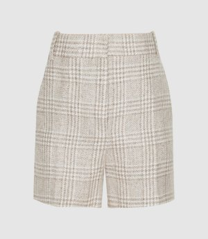 Reiss Lula - Checked Linen-blend Shorts in Multi, Womens, Size 4
