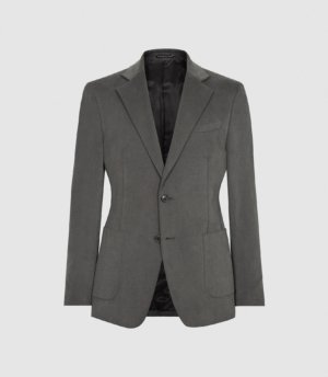 Reiss Monument - Moleskin Single Breasted Blazer in Charcoal, Mens, Size 36