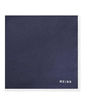 Reiss Moon - Silk Pocket Square in Night Navy, Mens