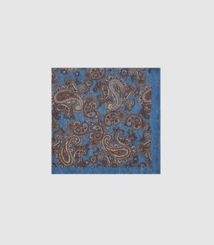 Reiss Morocco - Silk Paisley Printed Pocket Square in Blue, Mens