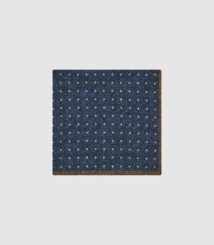 Reiss Naples - Wool Polka Dot Pocket Square in Blue, Mens
