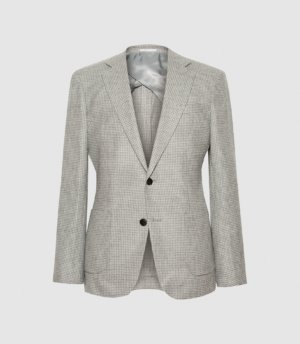 Reiss Niche - Checked Single Breasted Blazer in Soft Grey, Mens, Size 36