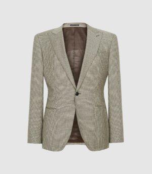 Reiss Oak - Slim Fit Checked Blazer in Brown, Mens, Size 36